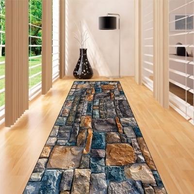 Else Blue Brown Gray Wall Brick Road Way 3d Print Non Slip Microfiber Washable Long Runner Mats Floor Mat Rugs Hallway Carpets