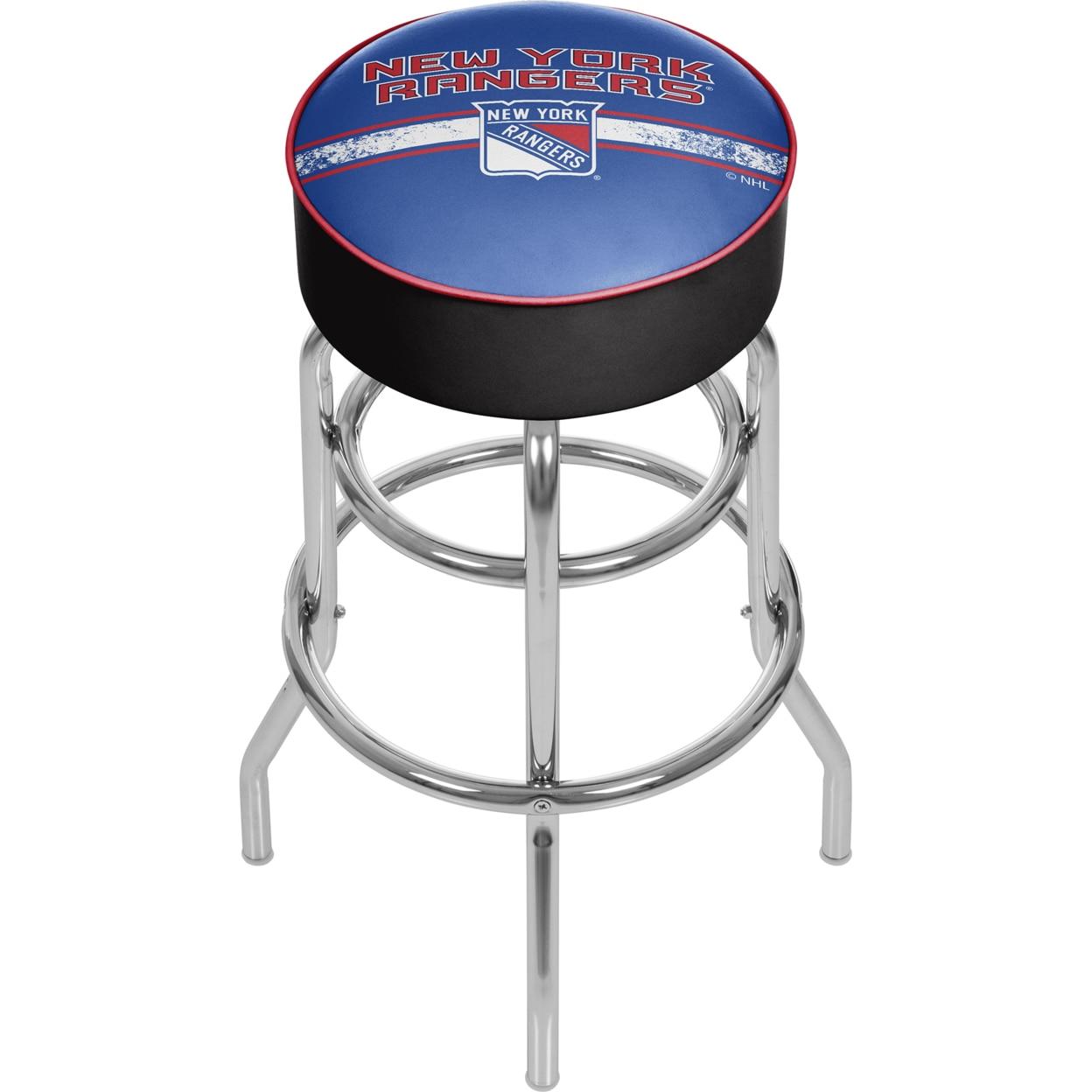 NHL Chrome 30 Inch Bar Stool with Swivel - New York Rangers купить nhl 10 на xbox