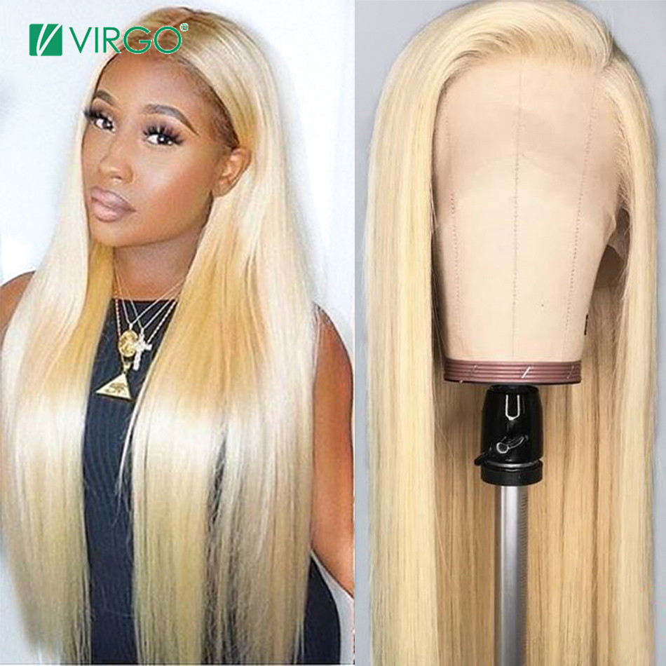 Virgo Blonde Lace Front Human Hair Wigs Remy 150% Density Brazilian Straight Hair 13x6 Lace Frontal Wigs 613 Blonde Hair Wig