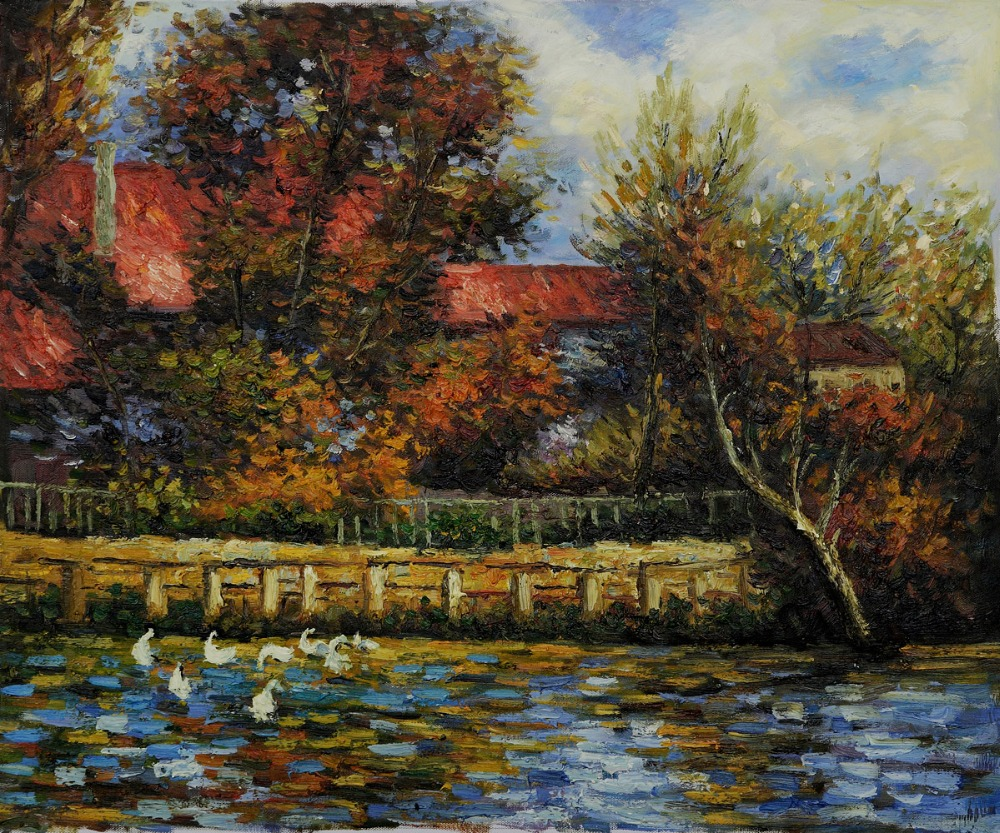 High quality Oil painting Canvas Reproductions Duck Pond By Pierre Auguste Renoir hand paintedHigh quality Oil painting Canvas Reproductions Duck Pond By Pierre Auguste Renoir hand painted