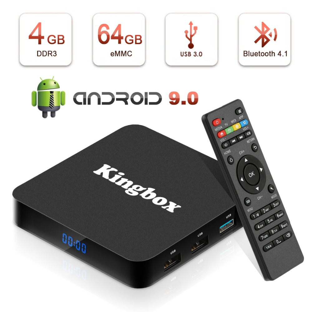 Kingbox Android 9.0 TV Box avec 4 GB RAM 64 GB ROM, 2019 K4 MAX Android Box Quad-Core Support BT 4.1/H.265/4 K/3D/2.4 GHz WiFi