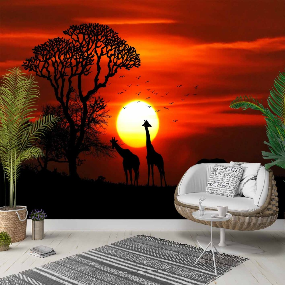 Else Orange Black African Animals Sun Set 3d Photo Cleanable Fabric Mural Home Decor Living Room Bedroom Background Wallpaper