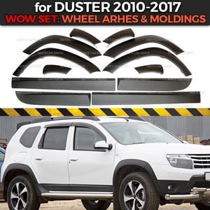 Image 1 - Ensemble arcs de roues et moulures pour Renault / Dacia Duster 2010 à 2017, 1 ensemble/12p, housse de protection en plastique ABS, style pour voiture