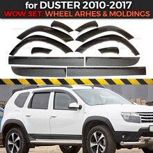Juego de arcos y molduras de rueda para Renault / Dacia Duster, 1 juego/12p, cubiertas de plástico ABS de protección, estilismo para coche