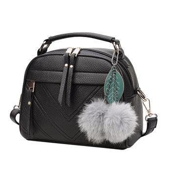 Stylish Women Handbag PU Leather Cute Mini Messenger Shoulder Bags With Ball Toy Bolsa Feminine Female Party Shopping Handbags