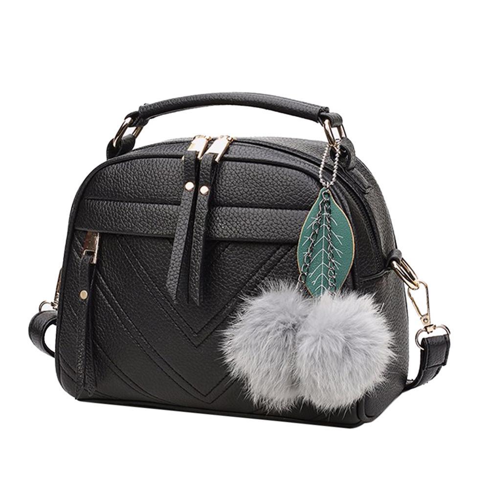 Mulheres elegantes Bolsa de Couro PU Bonito Mini saco do Mensageiro Sacos de Ombro Com Brinquedo Bola Partido Bolsas de Compras Bolsa Feminina Feminino