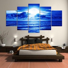 5 Pieces Beach Under The Night Sky Poster Canvas Paintings Decor Framework One Set Wall Art Home Living Room Print Picture