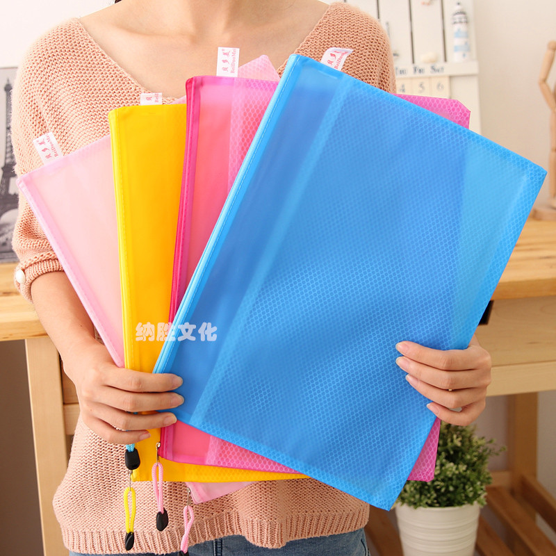 High Quality 8 Sizes Random Color Plastic Double Layer Paper Document File Bill Zipper Bag Pencil Pouch(China)