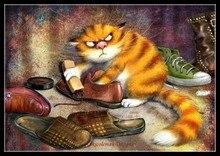 Borduurwerk Geteld Borduurpakketten Handwerken Ambachten 14 ct DMC Kleur DIY Arts Handgemaakte Decor Schoen shining kat