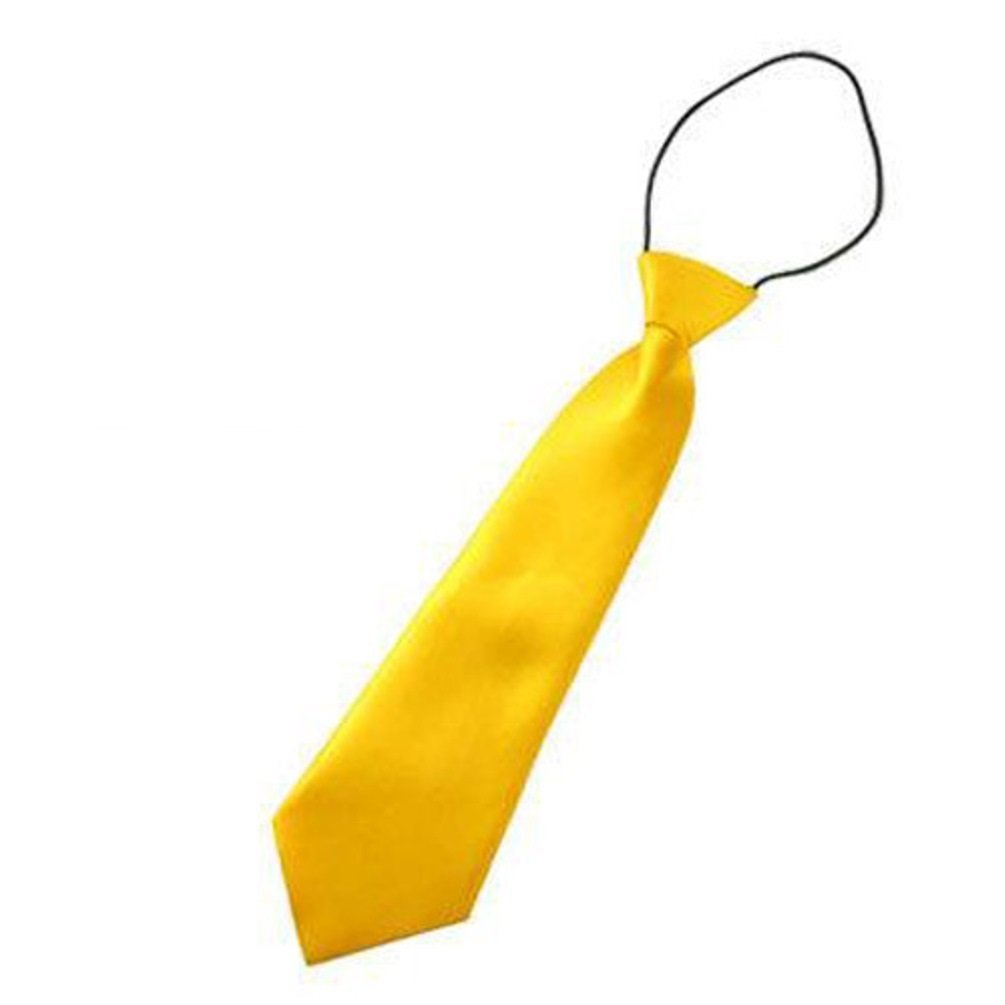 Children Yellow Polyester NeckTie Kid PreTied Neck Tie