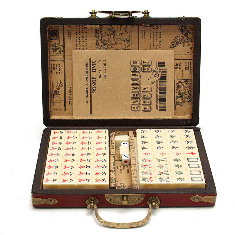 NEW Arrival 144 Tiles Mah-Jong Set Multi-color Portable Vintage Mahjong Rare Chinese Toy With Bamboo Box Top Quality Card Games