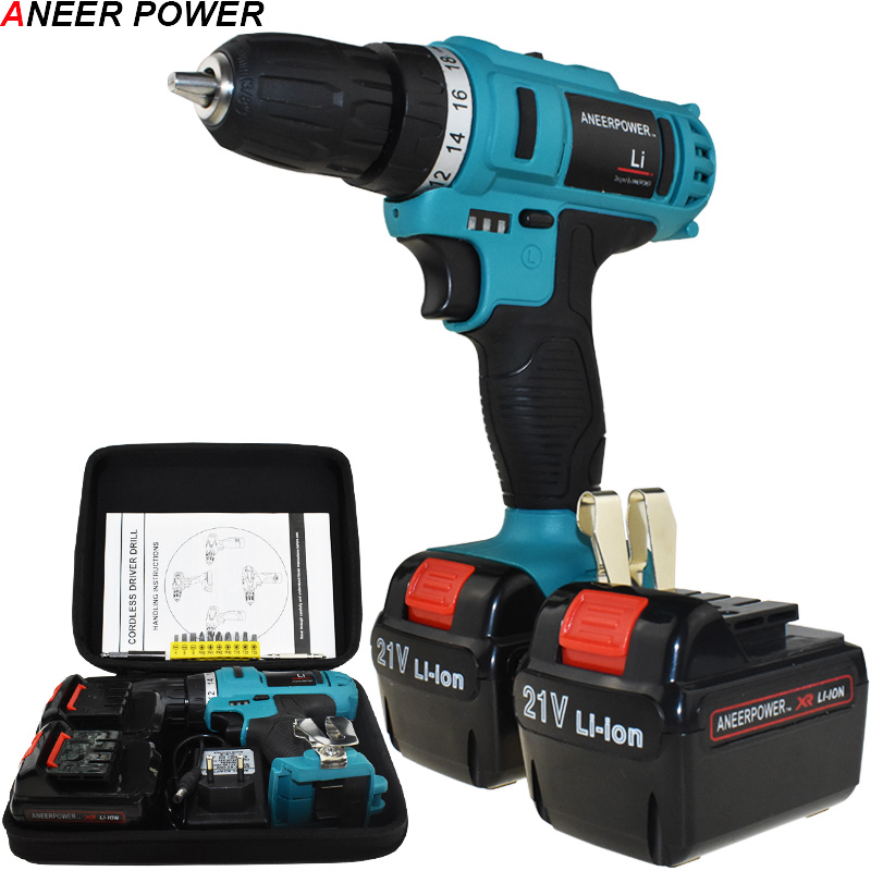 21v Drill Electric Screwdriver Batteries Screwdriver Mini Power Tools Electric Drill Cordless Drill 1.5Ah Battery Capacity