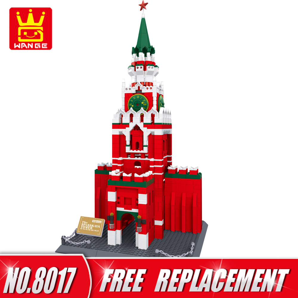 WANGE Building Blocks World Famous Architecture Series Moscow Kremlin 1044pcs Bricks DIY Educational Kids Toy Home Decor NO.8017 world famous architecture 1977pcs wange blocks golden gate bridge model building bricks set diy assembly toys for children 8023