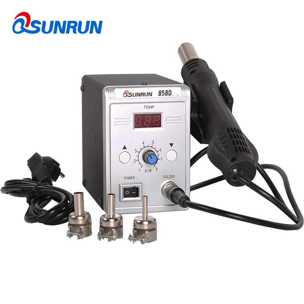 где купить QSUNRUN 858D Mobile Phone Repair Machine SMD Hot Air Gun Soldering Rework Station 700W 110V/220V LED Display For PCB Repairing дешево