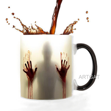 The walking dead coffee mugs heat Color changing tea cup Magic Mug gift zombie double sides printing Dropshipping baldr earth mark cup tetris the heat change thermal color mugs