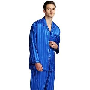 Image 4 - Мужской Шелковый Атласный пижамный комплект, пижамный комплект PJS Пижама, комплект для отдыха США, M,L,XL,2XL,3XLL,4XL Plus полосатый