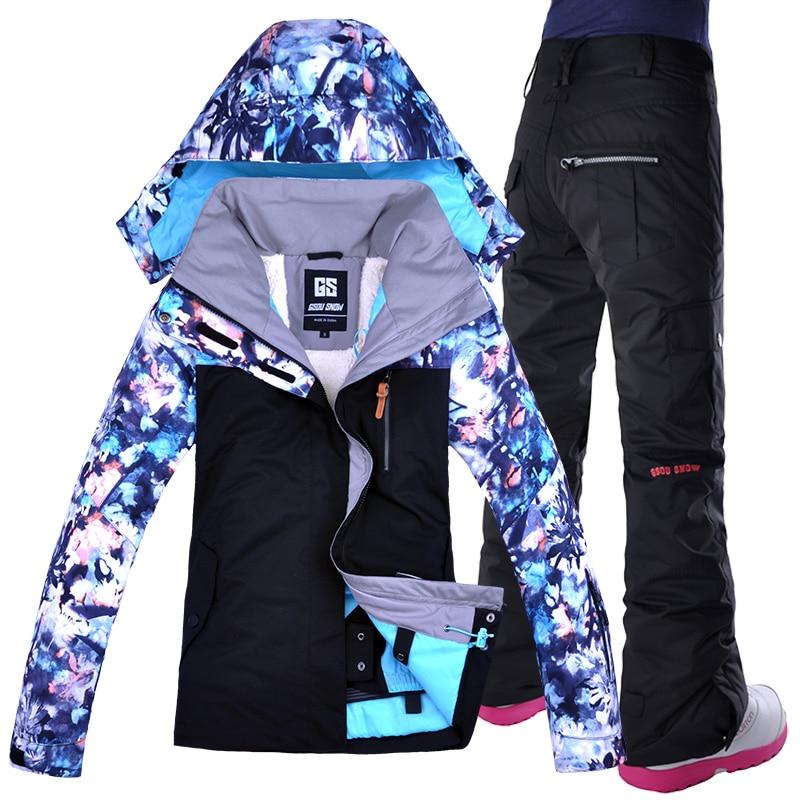 GSOU neige femmes veste de Ski pantalon Snowboard Ski costume coupe-vent imperméable Super chaud vêtements pantalon femme hiver vêtements