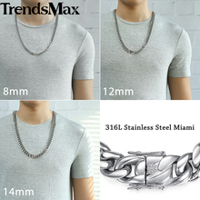 Miami Curb Cuban Mens Necklace Chain 316L Stainless Steel Hip Hop Silver Gold Color 8/12/14mm KHNM19