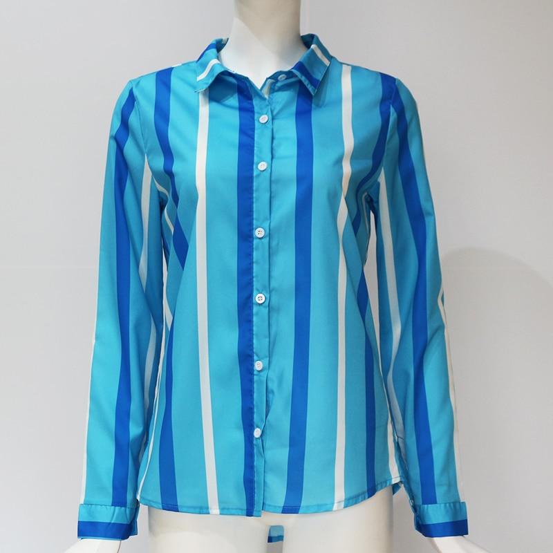 Women Blouses Fashion Long Sleeve Turn Down Collar Office Shirt Leisure Blouse Shirt Casual Tops 93