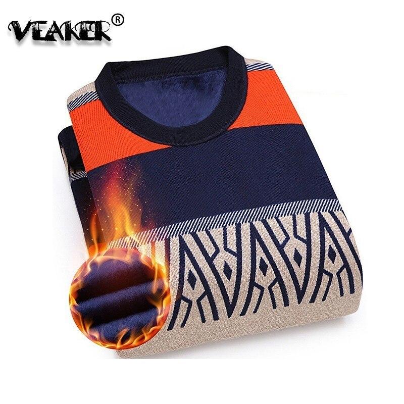 Wool Sweater Pullovers Men Slim-Fit O-Neck Knitted Cashmere Fleece Warm Men Autumn Men's