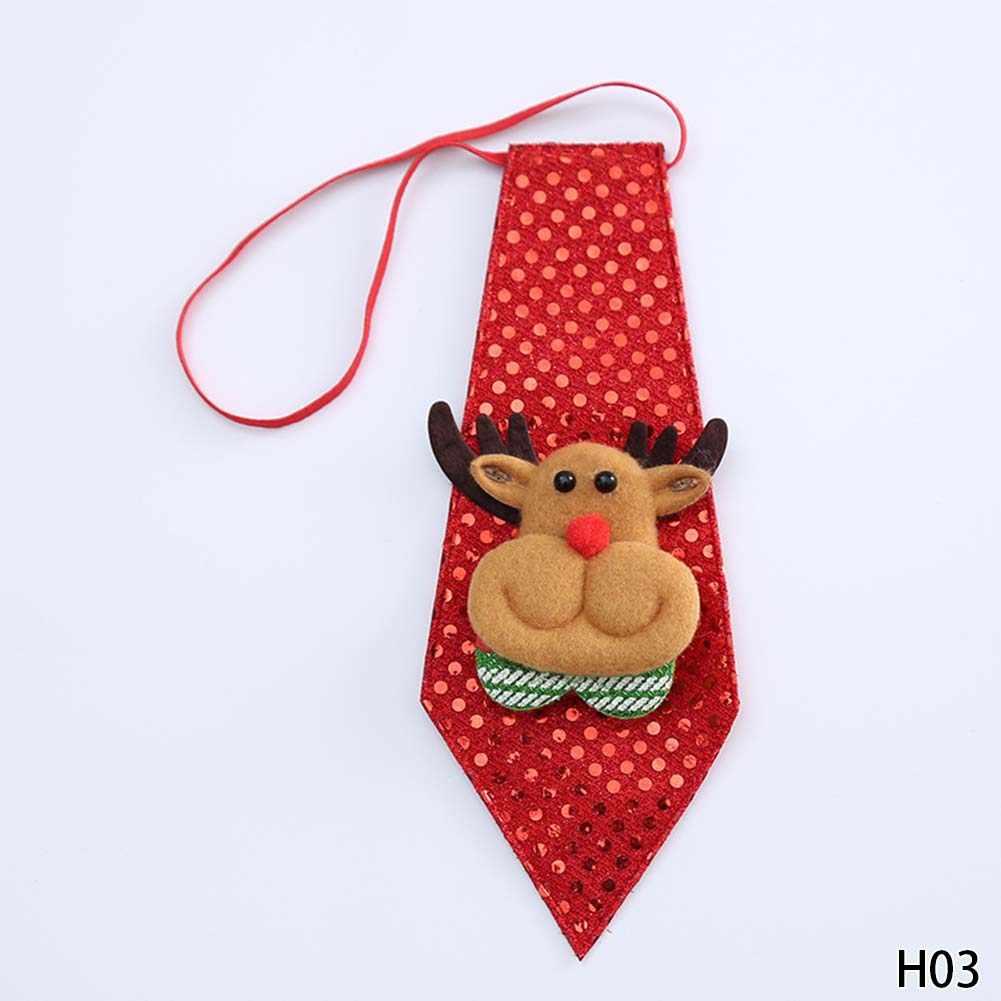 1 PC Natal Crianças Lantejoulas Gravata Laço do Urso de Natal Papai Noel Boneco Rena Enfeites de Decoração Para Casa Natal