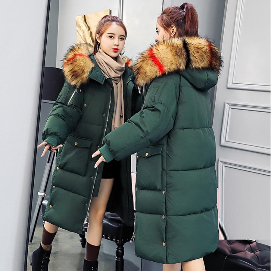 Taille Le 2018 Bas blanc Nouvelle Femme Casual Rembourré Grande vert Veste Coton Mode Vers Manteau D'hiver Long Top Noir Mince Chaud Épaissie Femmes orange Ouatée xEEwaXpq
