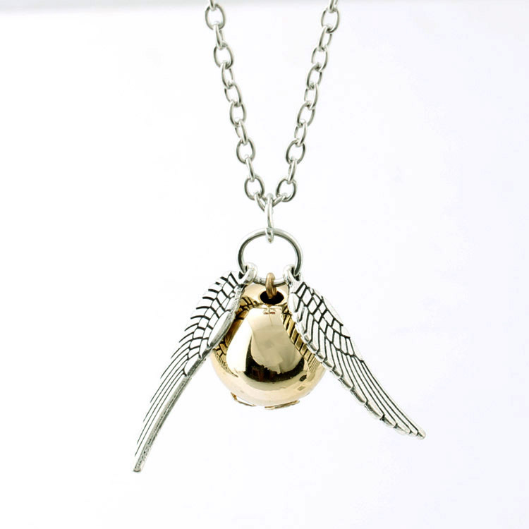 Harry Potter Necklace Men Vintage Style Angel Wing Charm Golden Snitch Pendent Necklace For Women Necklace Action Figure Toys trendy multilayered resin and golden square charm fake collar necklace for women