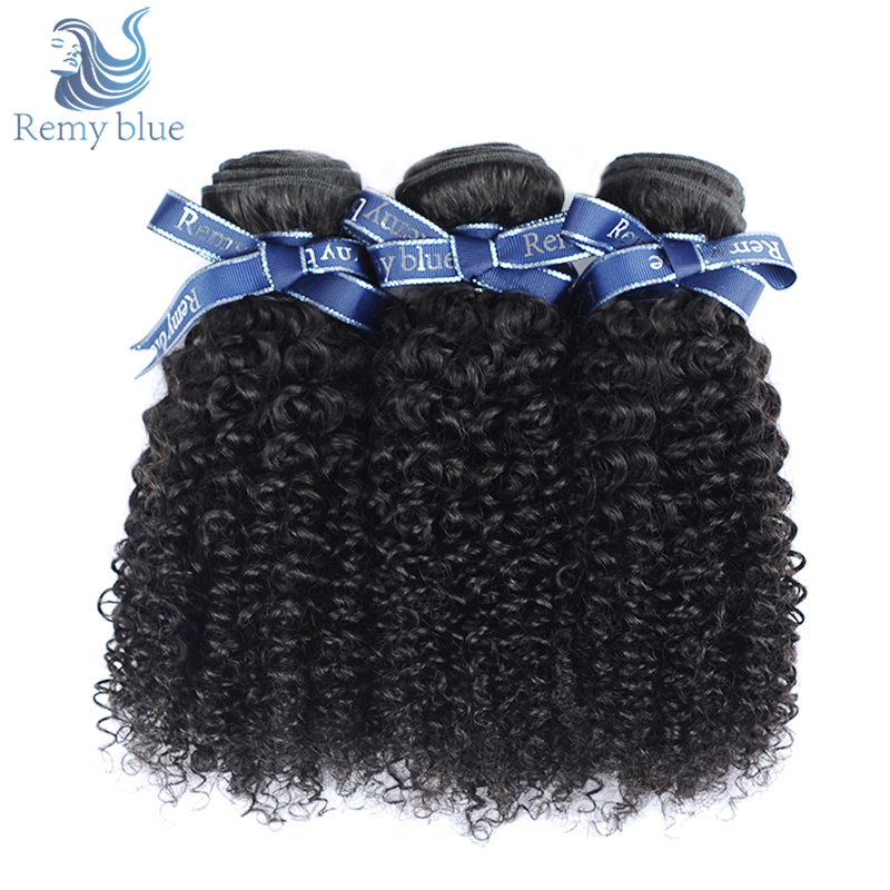 Remy Blue Indian Hair Afro Kinky Curly Hair 3 Bundles Human Hair Weave Extension Remy Hair Bundles 100G/pcs Can be dyed & Bleach ...