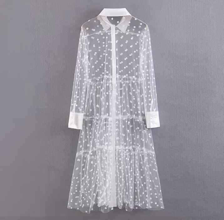 2019 ผู้หญิงฤดูร้อน Polka Dots ชุดสีขาวชุดตัดคอ V คอ Retro Vintage ชุด Midi ฤดูร้อน Vestidos หญิง