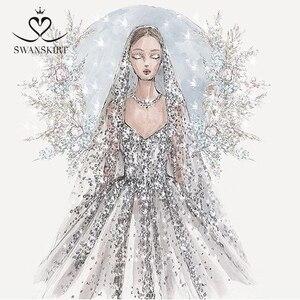 Image 3 - Swanskirt Vestido de boda personalizado 02 Sarahjah, apliques DZ, pelota personalizada, hecho en china, de talla grande, Vestido de novia