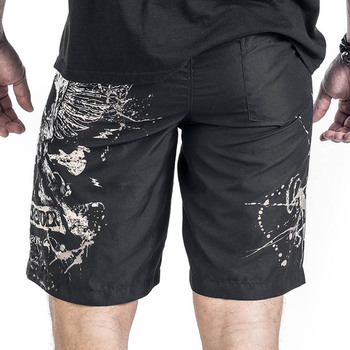 Summer Male Skull Print Sandblasting Short Pants Fashion Men's Casual Sportwear Beach Shorts Man 1