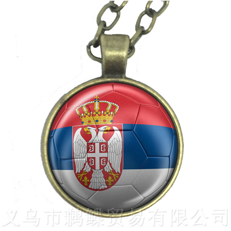 2018 World Cup Necklace SaudiArabia,Senegal,Serbia,Switzerland,Sweden,Portugal,Nigeria,Japan Nation Flag Football Sweater chain