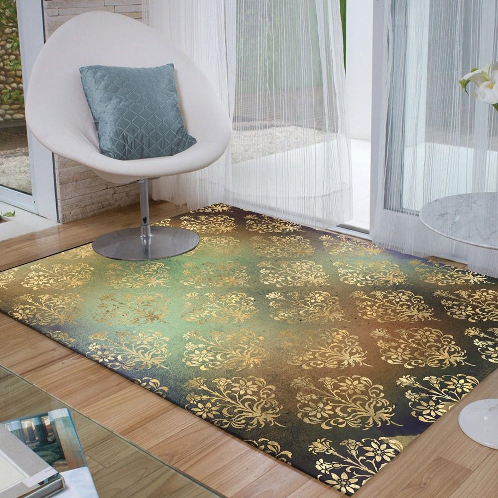 Else Black Golden Yellow Vintage Floral Egypt 3d Print Non Slip Microfiber Living Room Decorative Modern Washable Area Rug Mat