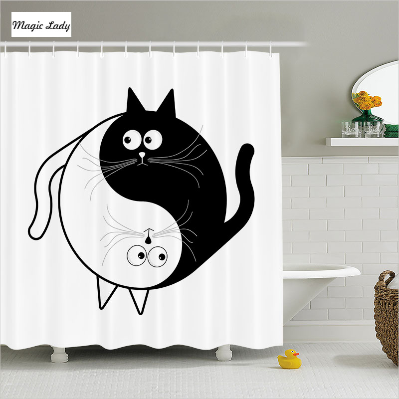 Shower curtain bathroom accessories cat cartoon animals for Black white bathroom accessories