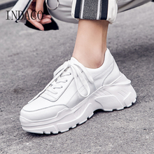 Sneakers Women Leather White Beige  Fashion Causal Shoes 7.5cm