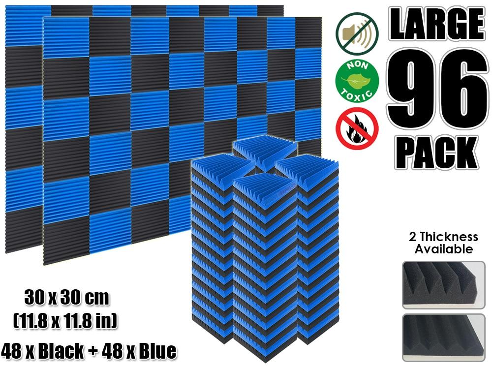 Arrowzoom 96 pcs Blue and Black Multi Wedge 12T Acoustic Studio Foam Tile Sound Absorption Panel