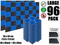 Arrowzoom 96 pcs Blue and Black Multi Wedge 12T Acoustic Studio Foam Tile Sound Absorption Panel 30 x 30 cm (11.8 x 11.8 inches)