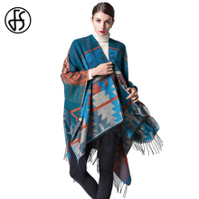 FS Cashmere Scarf Women Geometry Thicker Tassel Poncho Cape Feminino Inverno 2017 Winter Warm Wool Scarves Shawls Wraps Pashmina