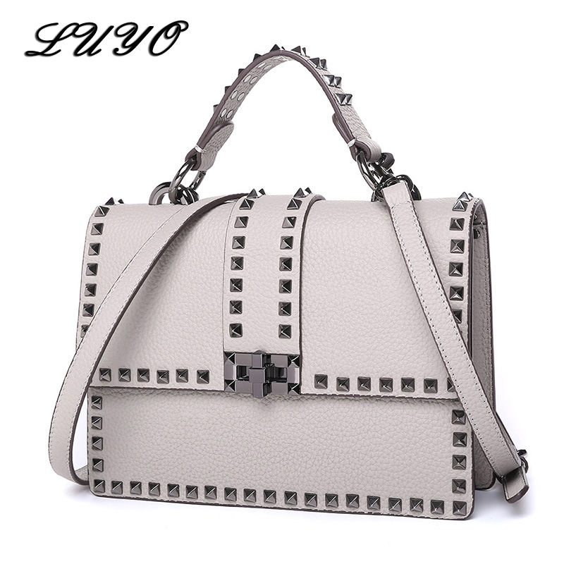 Rivet Genuine Leather Crossbody Bags For Woman Famous Brands Luxury Handbags Women Bags Designer Bag Neutral Female Messenger chispaulo women genuine leather handbags cowhide patent famous brands designer handbags high quality tote bag bolsa tassel c165