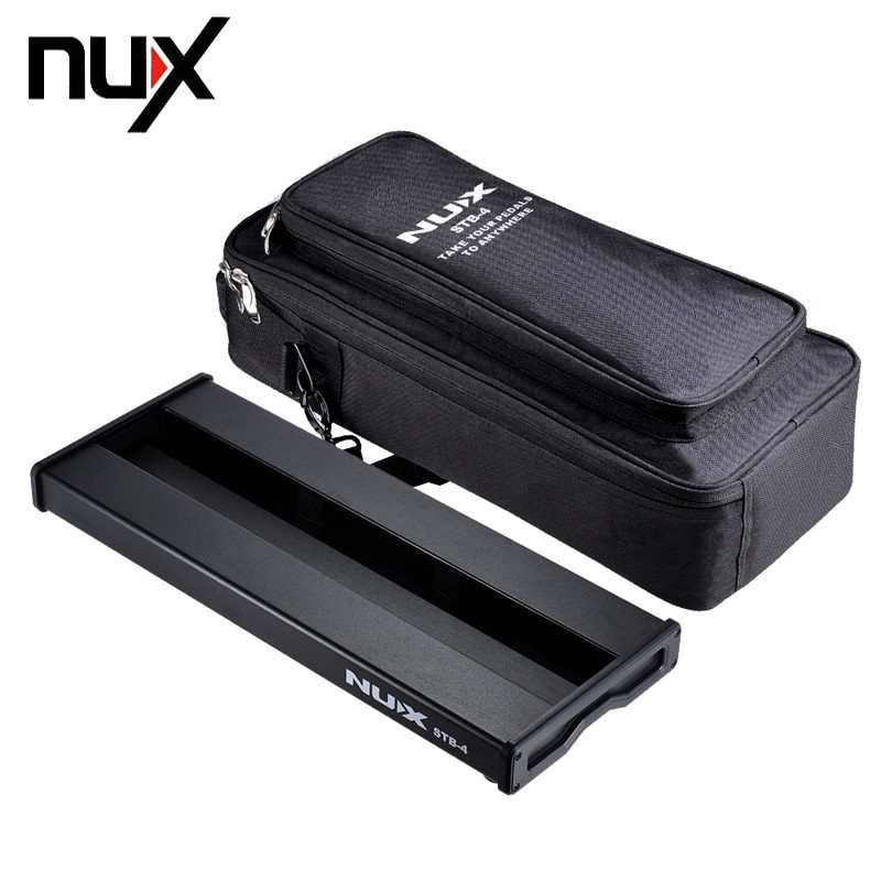 NUX STB-4 Aluminum Alloy Guitar Effect Pedal Board with Portable Carrying Bag Case Box / 2 Fastener Tape / 3 Cables Guitar Parts hiinst black portable and durable waterproof portable carrying storage aluminum alloy case box for spark drop aug15