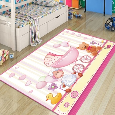 Else Pink Cradle Cute Bears Duck Lamp Baby Girl 3d Print Non Slip Microfiber Children Kids Room Decorative Area Rug Kids  Mat