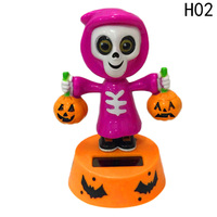 Halloween Shook His Head Doll Size 11*7*5 Cm Solar Powered Dancing Christmas Gift Swinging Animated Toy Car Decor