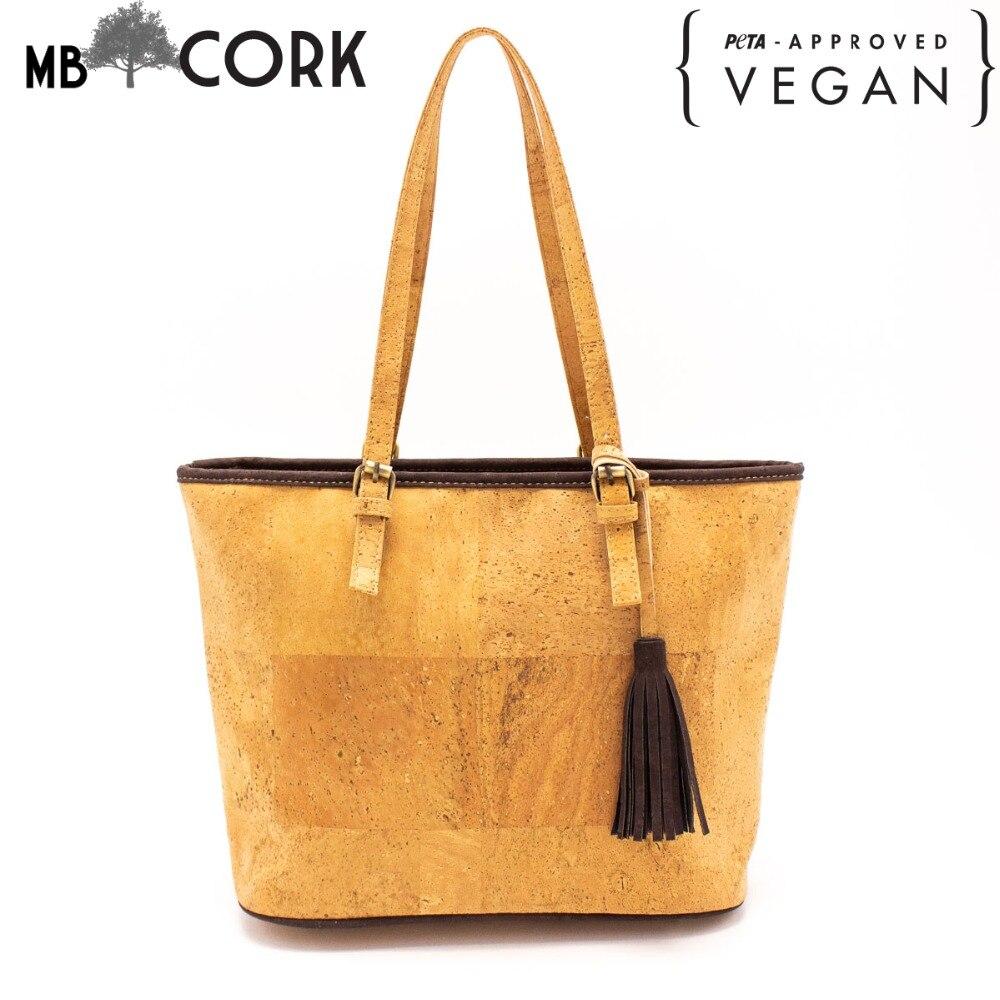 Cork Handbags: Natural Cork With Tassel Women Handbag Women Original