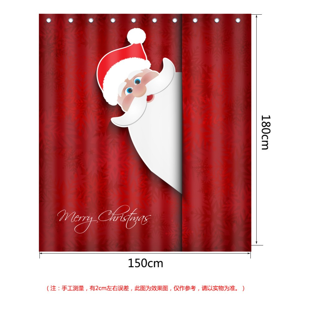 Paan Bath Mat And Shower Curtain Set 3d Merry Christmas Santa Printed Curtains With Hooks Bathroom Rugs Absorbent Soft