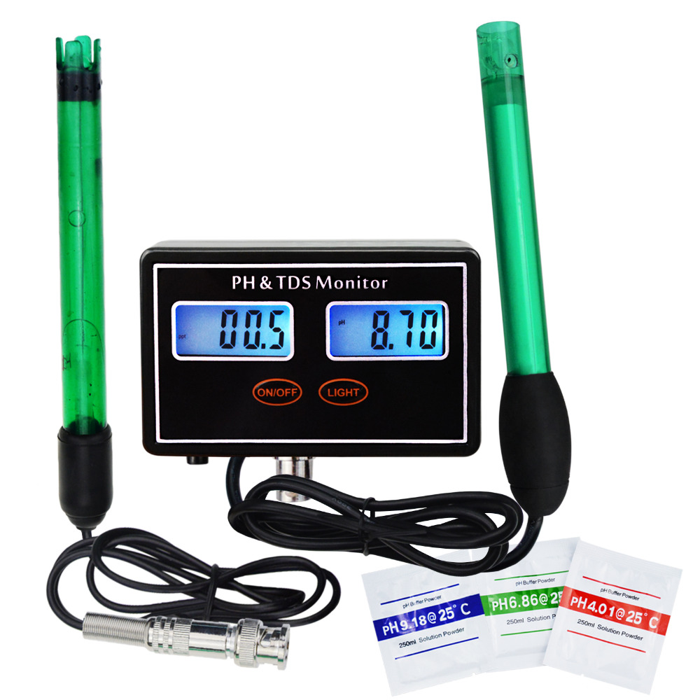 Digital Combo pH & TDS Monitor Meter Tester ATC Rechargeable Water Quality Real-time Monitoring 0.00~14.00pH & 0.0~199.9ppt digital combo ph