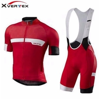 Red black Men's cycling kit 2018 Summer Breathable short sleeve Jersey and bib shorts 9D pad Riding suit road bike MTB clothing