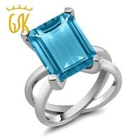 GemStoneKing 7.00 Ct Octagon Blue Topaz Cocktail Ring Voor Vrouwen Solid 925 Sterling Zilveren Fijne Sieraden