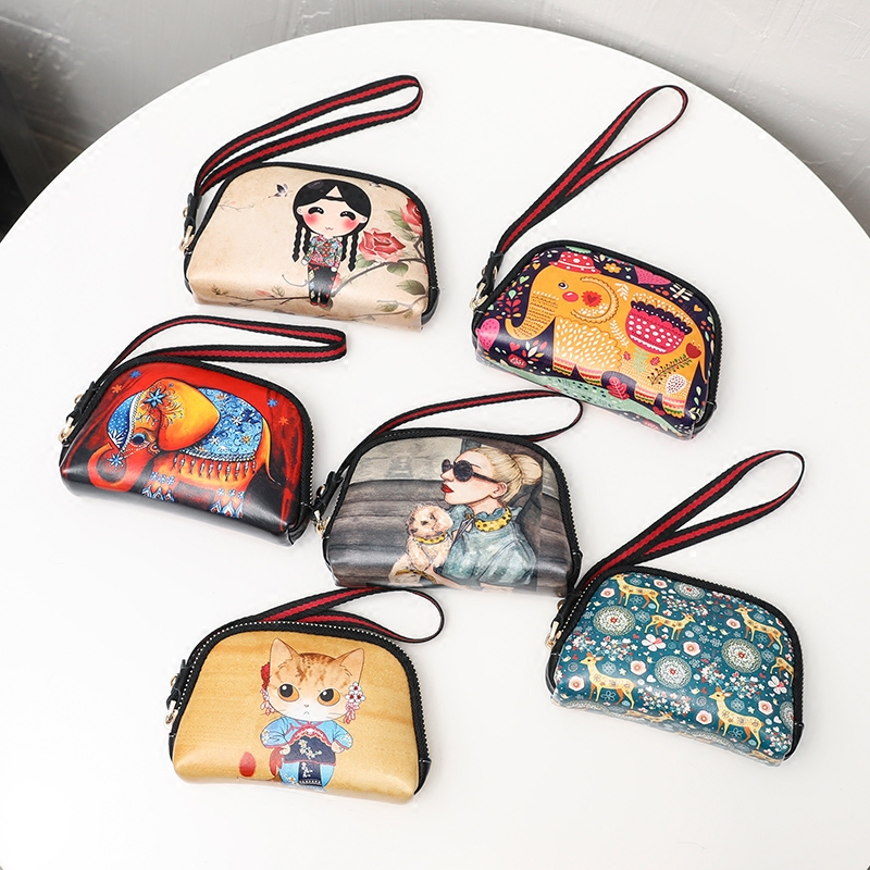 Cute Girl Zipper Coin Purse Printed Coin Bag Cartoon Key Bag Womens Printing Short wallet