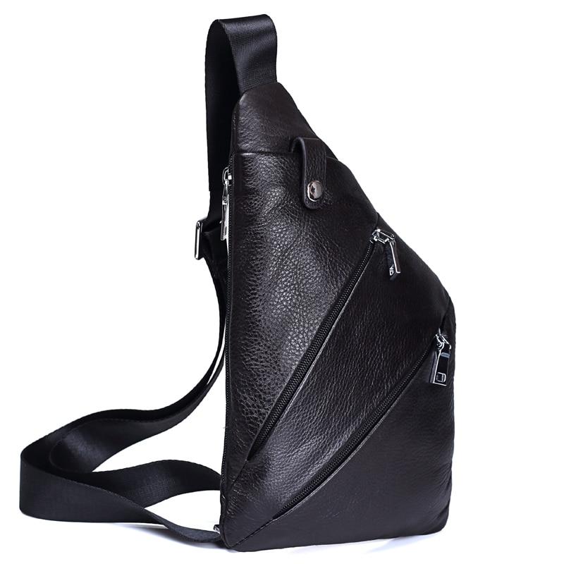 MISFITS NEW Genuine Leather Men Chest Bag Fashion Crossbody Bag Men Messenger Bags Cow Leather Travel Pack For Male Shoulder Bag