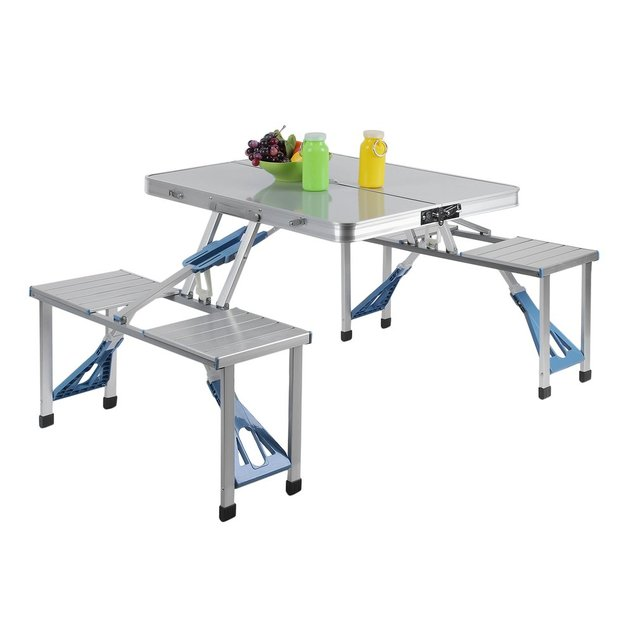 Aluminum Mdf Outdoor Garden Bbq Portable Folding All In One Camping Picnic Table With